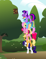 Ponies Doing A Totem by Eli-J-Brony