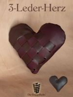 3-Leder-Herz   3-leather-heart -SOLD- by die-doppelhelix