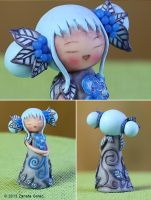 Floral Kokeshi 'Blue Princess' by ZanetaGc