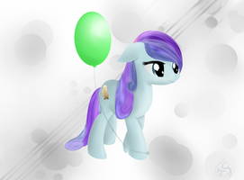 Pony Art Challenge: Day 8, Amber Leaf with balloon by Silverwindpegasus