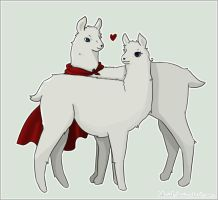 Albino Llamas Love by Lekaiel