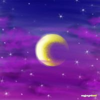 The moon and the night sky by eyjaynizel
