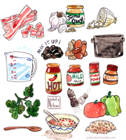 Frijoles Rancheros watercolor illustrations by SailingBreezes