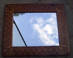 Large Henna timber mirror by WOODEWYTCH