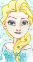 Elsa from Disney's Frozen Drawing by nickelbackloverxoxox