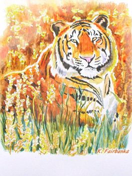 Tiger in a Field (painting) by kfairbanks