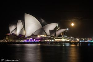 Opera House and the Moon by Al-Msafer