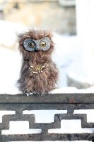 Mottled brown owl. art doll. sold by RedFoxAlice