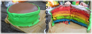 We have to cook: Warp Pipe Rainbow Cake by Goomuin