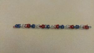 Red White And Blue Chain Mail Bracelet by Rini-Dragoone