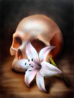 Progress 3 Skull and flower by teedark