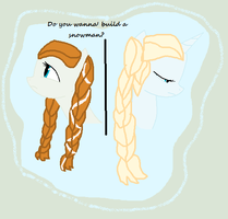 Do you want to build a Snowman? Elsa and Anna by Meadow-Leaf
