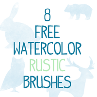8 Watercolor Rustic Animal Photoshop Brushes CS 7 by smyhls