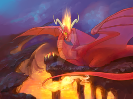 Commission: fire dragon by AironMag