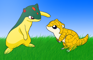 Quilava and Sandshrew by Nukeleer