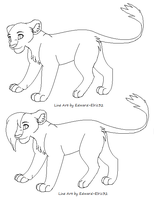 Simple Lioness Line Art by Kainaa