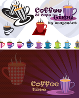 Coffee Time 31 Cups Vector Set by dragonartz