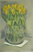 Still life with yellow tulips by Cunami-in-october