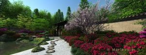 Japanes Garden Sunny day by MariaFuchs