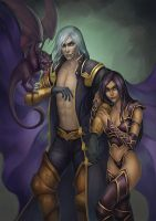 Commission - Dmitrii and Mer-Iset by Vrihedd