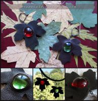 Leather Leaves earrings by PoppyLady