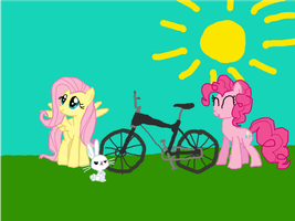 Pinkie, Fluttershy, Angel and a Bike by Doctor-Derpy