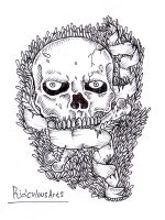 skull on da grass by RidiculousArts
