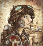 A Spanner in the Works (Steampunk Worker Girl) by LenleG