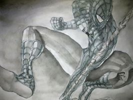 Spider-man with drawing ink by UsayFudo