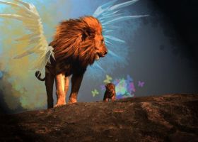 The Lion and his Cub by Lionrazor