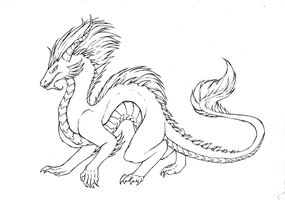 Eastern Dragon- Linework by Lucieniibi