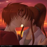 Largo and Erika Sunset Kiss by rufiangel