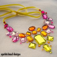 SummerFire Rhinestone Necklace by Natalie526
