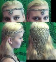 Elegant Chainmail Crown with long chainmail back by AngelWolf22