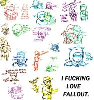 Fallout: SO MUCH DOODLES by LuciferianRising