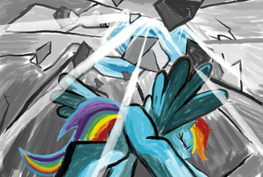 Rainbow Dash and Rock s  in MS-Paint by sallycars