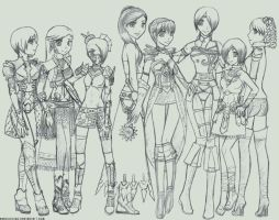 Guild Wars Girls Sketch by GenkiIchigo