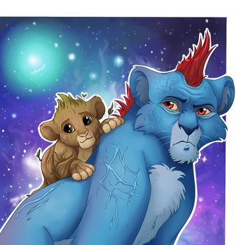 Yondu and baby Groot in TLK style by NemuShiffer