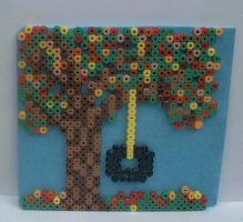 autumn tree with tire swing by snowy-wolf