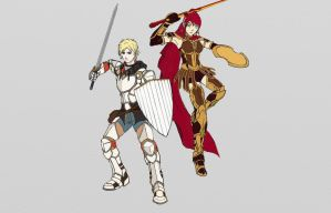 Jaune Arc and Pyrrha Nikos -(Base Colors) by ACGearmaker
