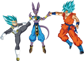 Vegeta and Goku SSGSS vs Lord Beerus by EymSmiley