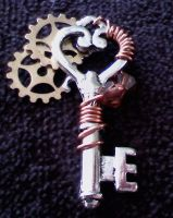 Wire-Wrapped Steampunk Key by dreamersparadise