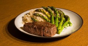 Steak and Asparagus by froggynaan