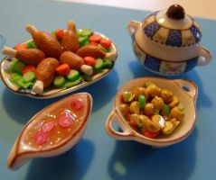 1:12 dinner fimo by miladythewinter