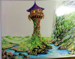 Rapunzel's Tower from Tangled - Whiteboard Drawing by Manukahoney7