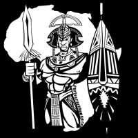 AFRICAN WARRIOR Black white by chriscrazyhouse