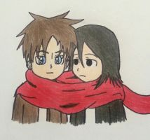 Eren and mikasa by Randompikaturtle