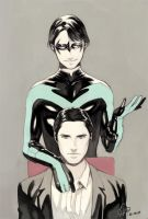 Nigtwing n Bruce wayne by Lverin