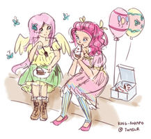 Ninjaham-styled Fluttershy and Pinkie Pie by King-Kakapo