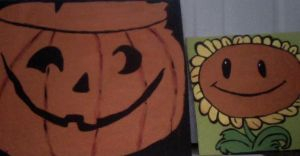 Sunflower and Jack'o'lantern by doll-fin-chick